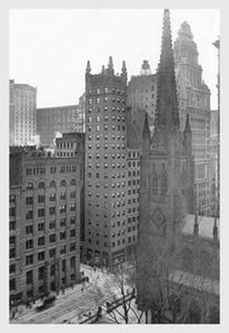 ONE WALL STREET AND TRINITY CHURCH, 1911: FINE ART GICLEE CANVAS PRINT