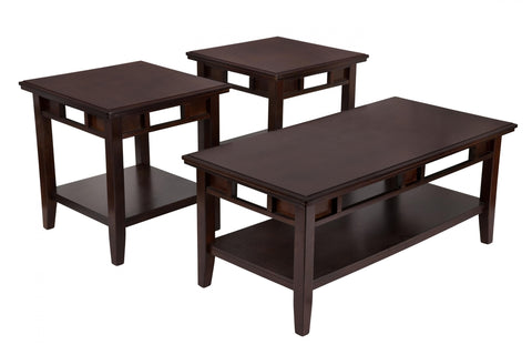 Signature Design by Ashley Logan - 3 Piece Occasional Table Set Dark Brown
