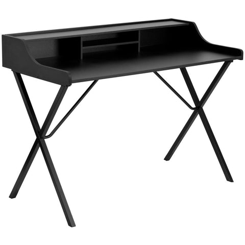 Computer Desk with Top Shelf Black Laminate Top/Black Frame