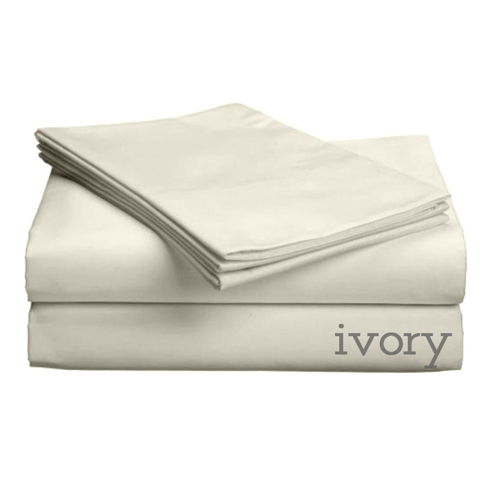 Luxe Collection 618tc Low Profile Cotton Sateen Sheet Set - Twin XL Ivory