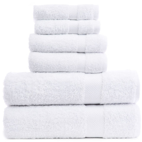 Luxury Hotel & Spa Towel 100% Genuine Turkish Cotton 6 Piece Towel Set -White- Bamboo
