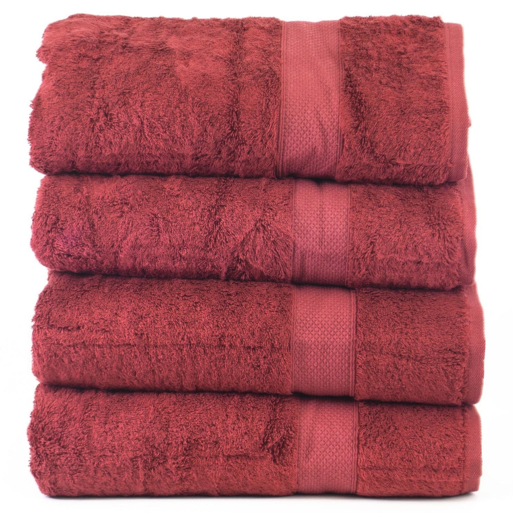 Luxury Hotel & Spa Towel 100% Genuine Turkish Cotton Bath Towels - Cranberry - Bamboo - Set of 4
