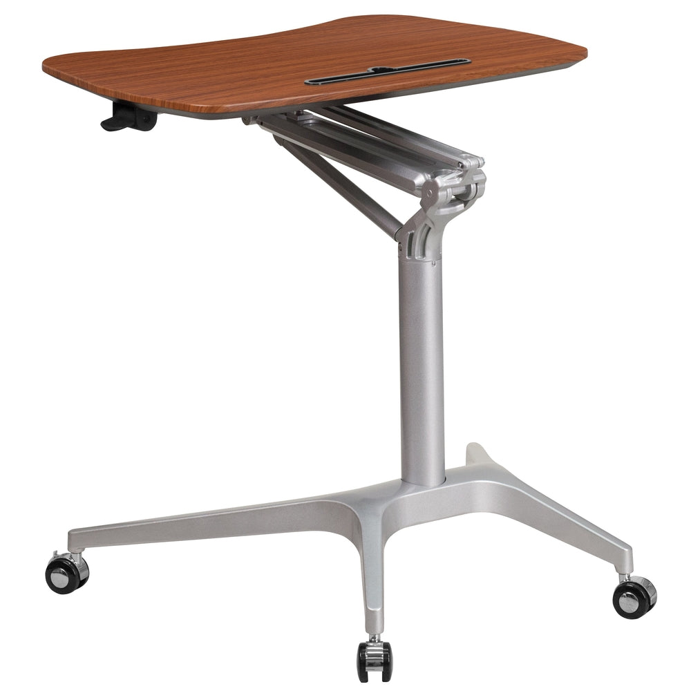 Mobile sit down stand up computer desk adjustable