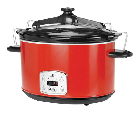 Stainless Steel 8 Qt Digital Slow Cooker with Locking Lid - Red