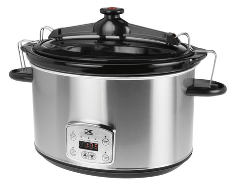 Stainless Steel 8 Qt Digital Slow Cooker with Locking Lid