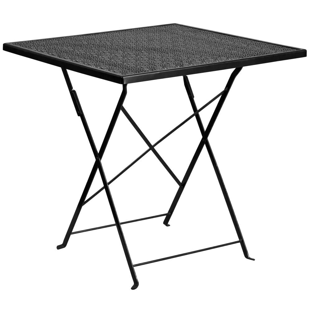 28'' Square Indoor-Outdoor Steel Folding Patio Table - Black