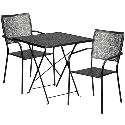 28'' Square Indoor-Outdoor Steel Folding Patio Table Set with 2 Square Back Chairs - Black