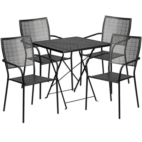 28'' Square Indoor-Outdoor Steel Folding Patio Table Set with 4 Square Back Chairs - Black