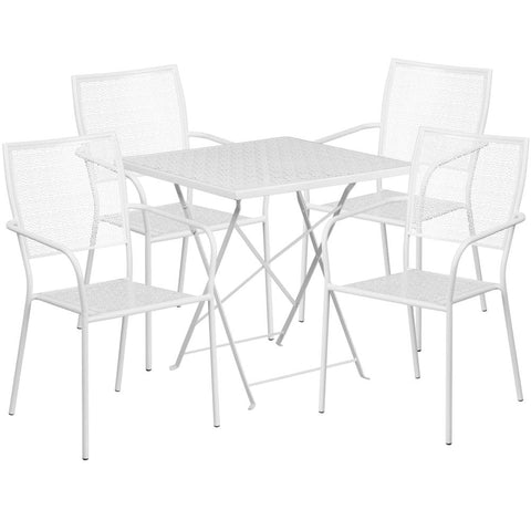 28'' Square Indoor-Outdoor Steel Folding Patio Table Set with 4 Square Back Chairs - White