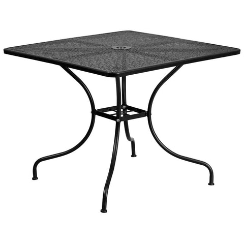 35.5'' Square Indoor-Outdoor Steel Patio Table (Black)