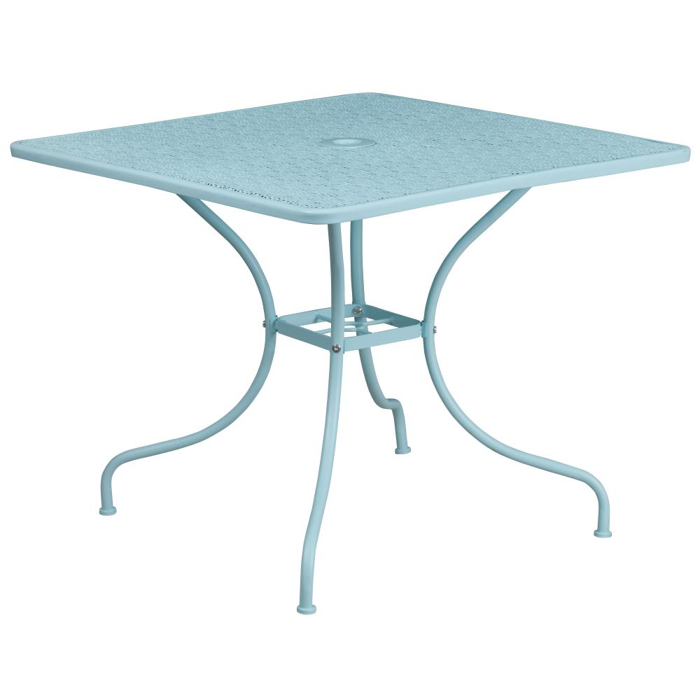 35.5'' Square Indoor-Outdoor Steel Patio Table (Sky Blue)