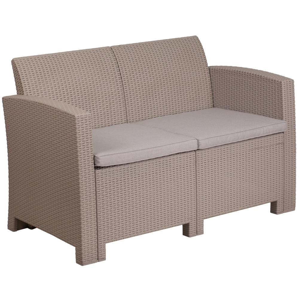 Faux Rattan Loveseat With All Weather Cushions Qolture