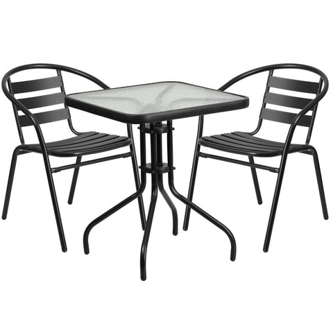 23.5'' Square Glass Metal Table with 2 Metal Aluminum Slat Stack Chairs Black