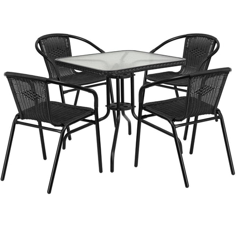 28'' Square Glass Metal Table with Rattan Edging and 4 Rattan Stack Chairs - Black
