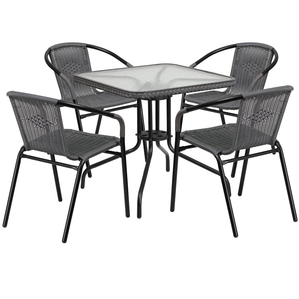 28'' Square Glass Metal Table with Rattan Edging and 4 Rattan Stack Chairs - Gray