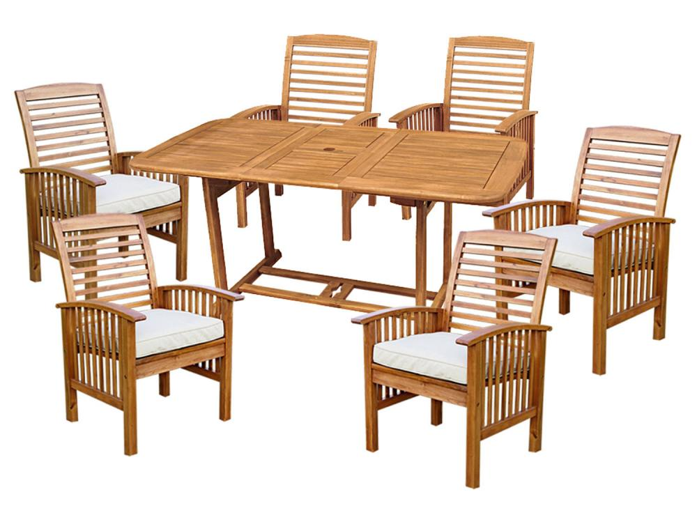 Patio Outdoor Acacia Dining Set with Cushions, Brown - 7 Pieces