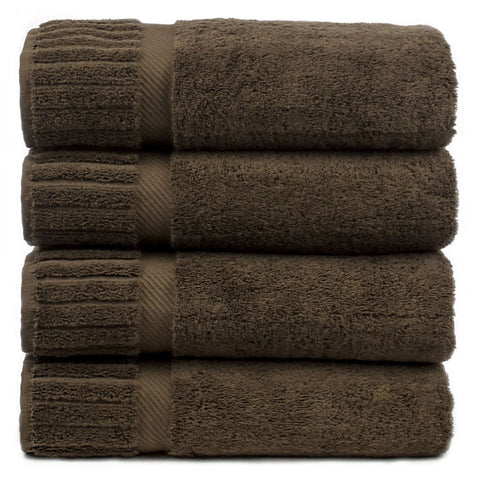 Luxury Hotel & Spa Towel 100% Genuine Turkish Cotton Bath Towels - Cocoa - Piano - Set of 4