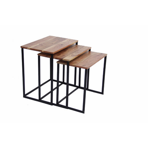 Classic Iron & wood Nesting Table, Brown, Set of 3