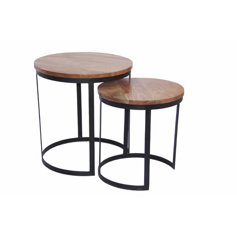 Round Iron Nesting Table, Brown, Set of 2