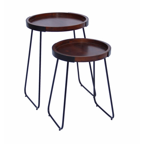 Round End Table, Brown And Black (Set of Two)