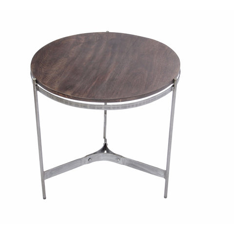 Round Metal End Table, Brown And Silver