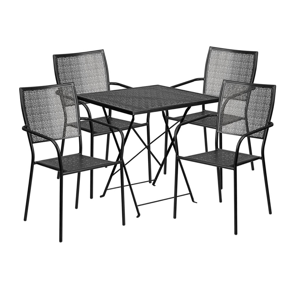 28u0027u0027 Square Black Indoor Outdoor Steel Folding Patio Table Set With 4  Square Back Chairs