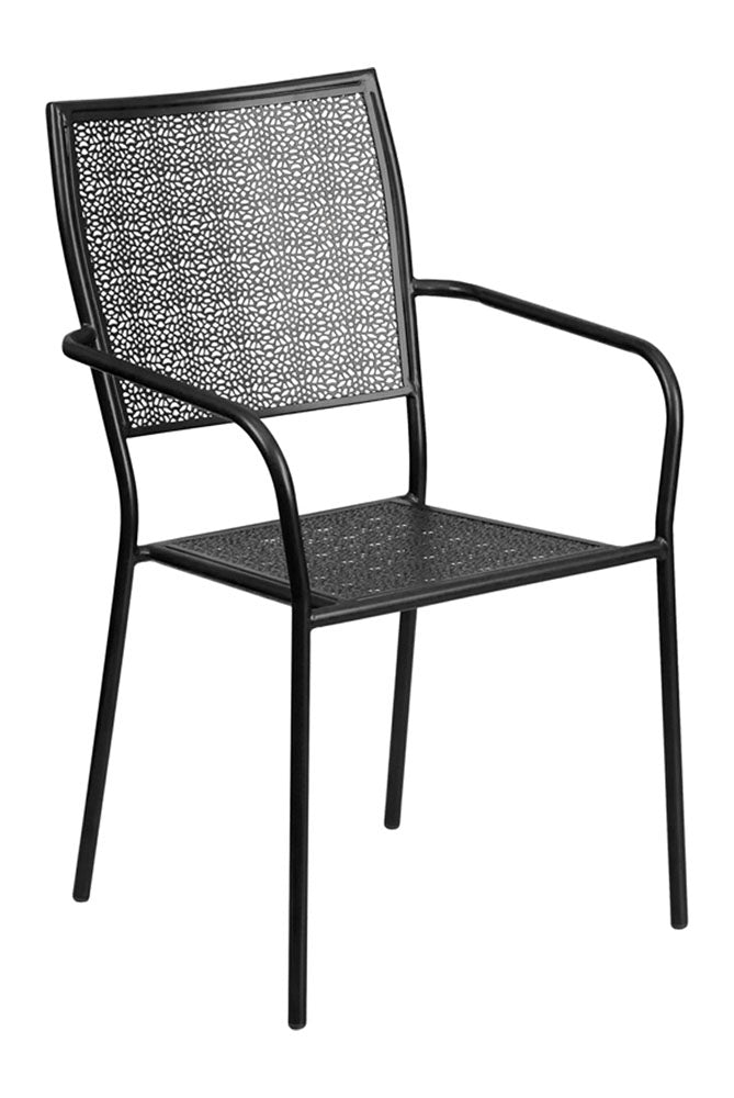 abb980b11438 Black Indoor-Outdoor Steel Patio Arm Chair with Square Back– Qolture
