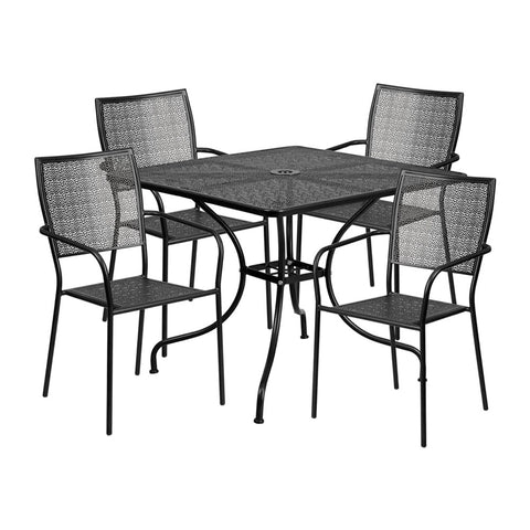 35.5'' Square Black Indoor-Outdoor Steel Patio Table Set with 4 Square Back Chairs (Black)