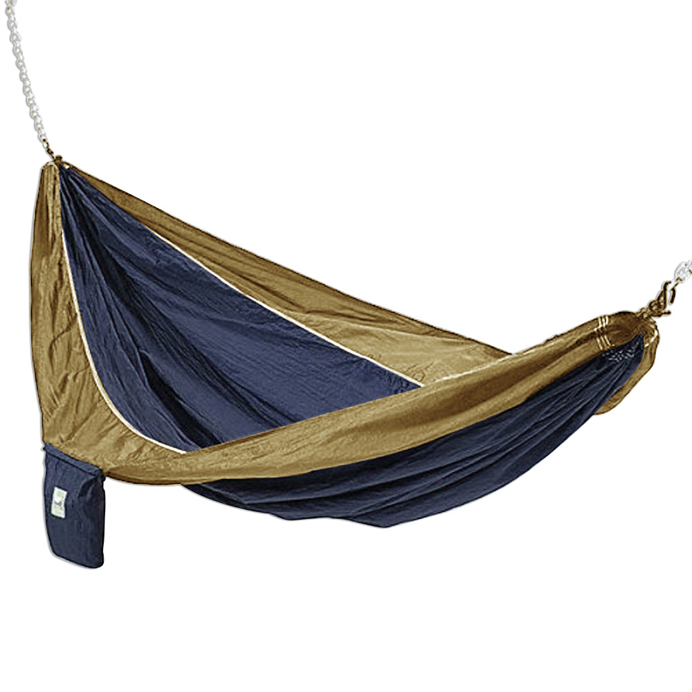 Hammaka Lightweight, Portable Parachute Silk 2-Person Hammock Swing For Outdoor/Patio, Blue And Brown