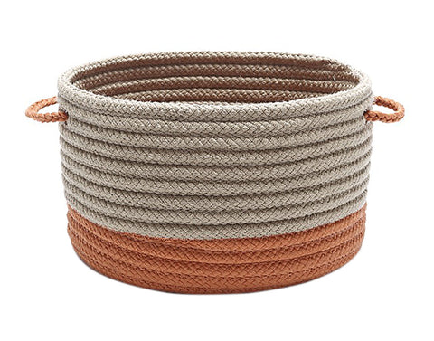 Colonial Mills Marina Braided Utility Basket Round 12x12x12 Orange