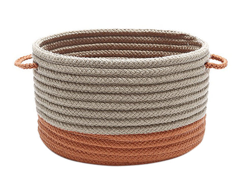 Colonial Mills Marina Braided Utility Basket Round 17x17x10 Orange