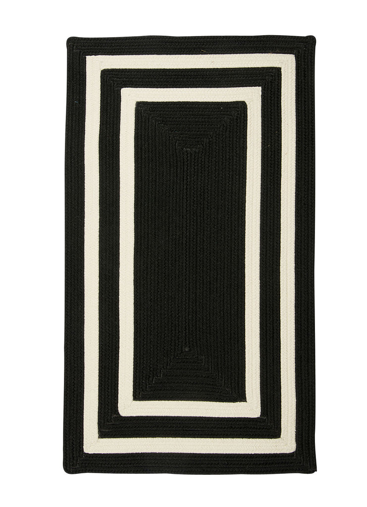 Colonial Mills Floor Decorative Braided La Playa Black & White Rectangle Area Rug 2'x10'
