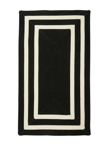 Colonial Mills Floor Decorative Braided La Playa Black & White Rectangle Area Rug 7'x9'