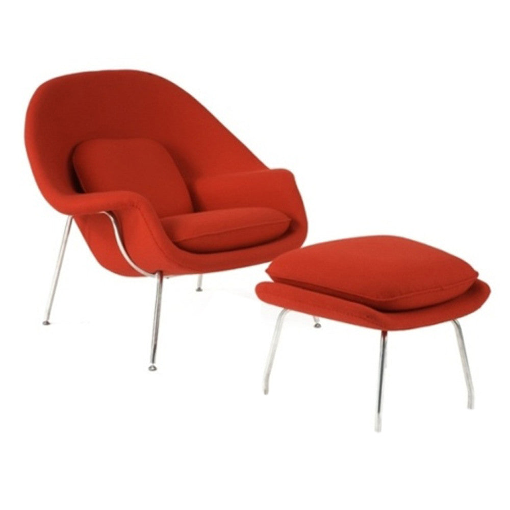 FINE MOD IMPORTS WOOM CHAIR AND OTTOMAN RED