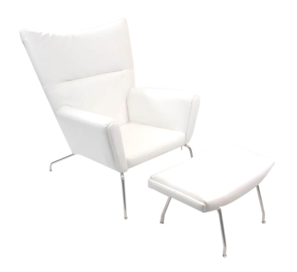 FINE MOD IMPORTS WING CHAIR AND OTTOMAN IN LEATHER WHITE
