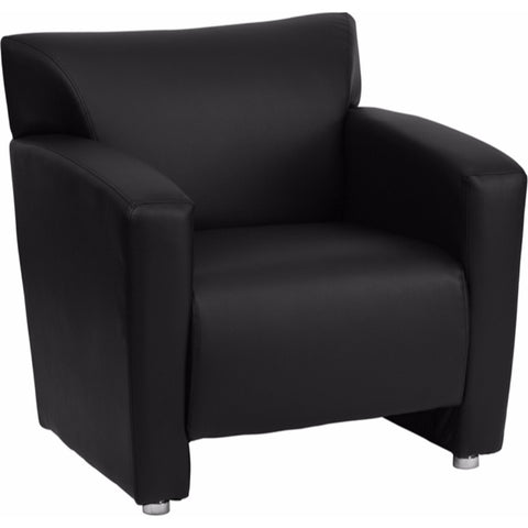 Flash Furniture HERCULES Majesty Series Black Leather Chair Home Office Seating Living Room Fixed Cushion Sofa with Aluminum Feet