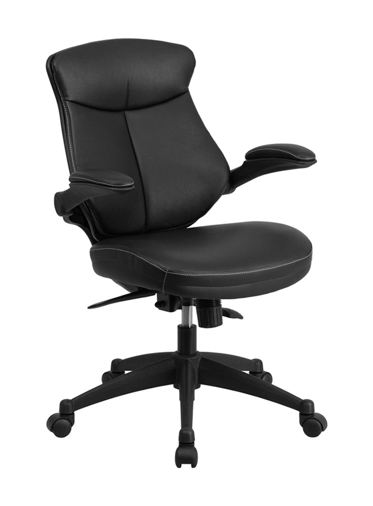 Flash Furniture Mid-Back Black Leather Executive Swivel Office Chair With Back Angle Adjustment And Flip-Up Arms BL-ZP-804-GG
