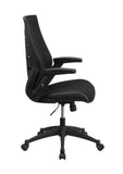 Flash Furniture High Back Black Designer Mesh Executive Swivel Office Chair With Height Adjustable Flip-Up Arms BL-ZP-809-BK-GG
