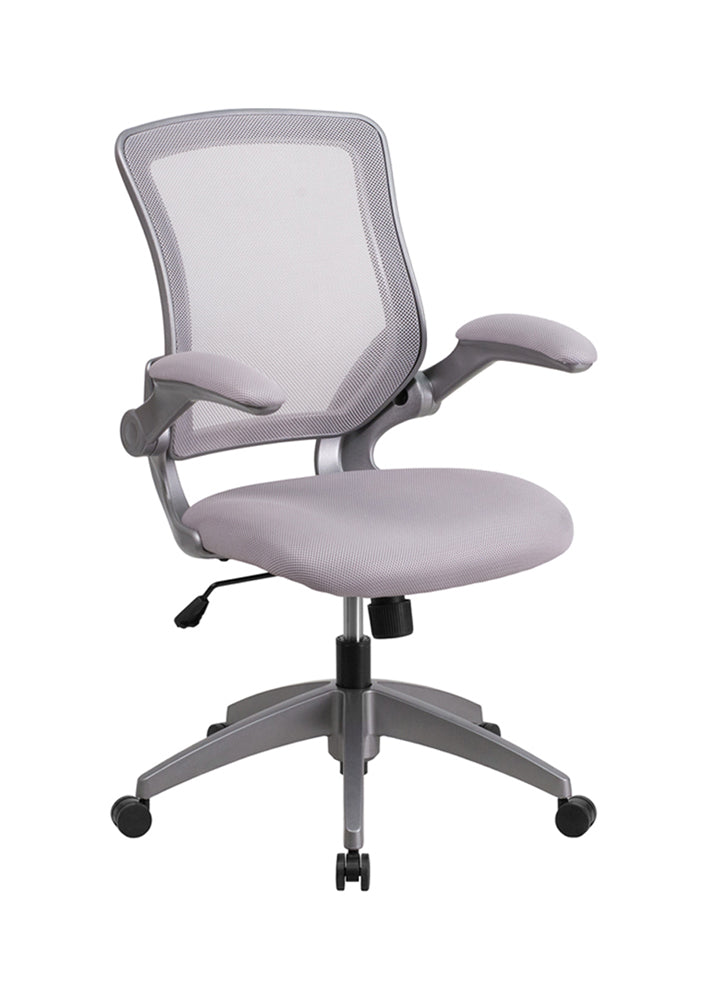 Flash Furniture Mid-Back Gray Mesh Swivel Task Chair With Gray Frame And Flip-Up Arms BL-ZP-8805-GY-GG