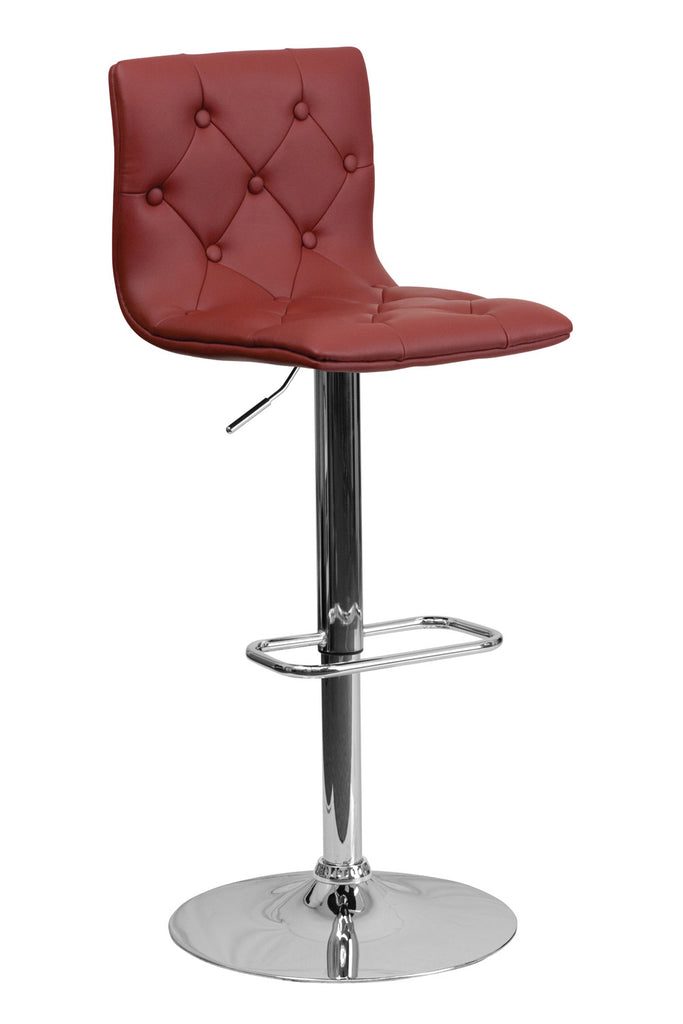CONTEMPORARY ADJUSTABLE HEIGHT TUFTED BURGUNDY VINYL BAR STOOL WITH CHROME BASE