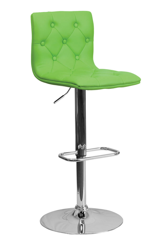 CONTEMPORARY ADJUSTABLE HEIGHT TUFTED GREEN VINYL BAR STOOL WITH CHROME BASE