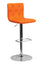 CONTEMPORARY ADJUSTABLE HEIGHT TUFTED ORANGE VINYL BAR STOOL WITH CHROME BASE