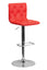 CONTEMPORARY ADJUSTABLE HEIGHT TUFTED RED VINYL BAR STOOL WITH CHROME BASE