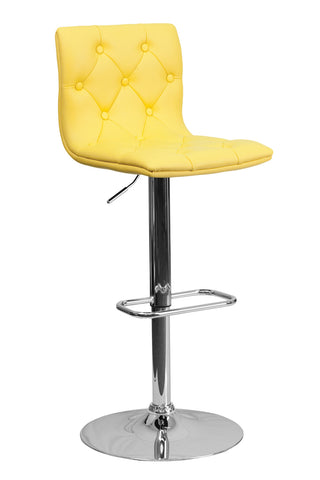 CONTEMPORARY ADJUSTABLE HEIGHT TUFTED YELLOW VINYL BAR STOOL WITH CHROME BASE
