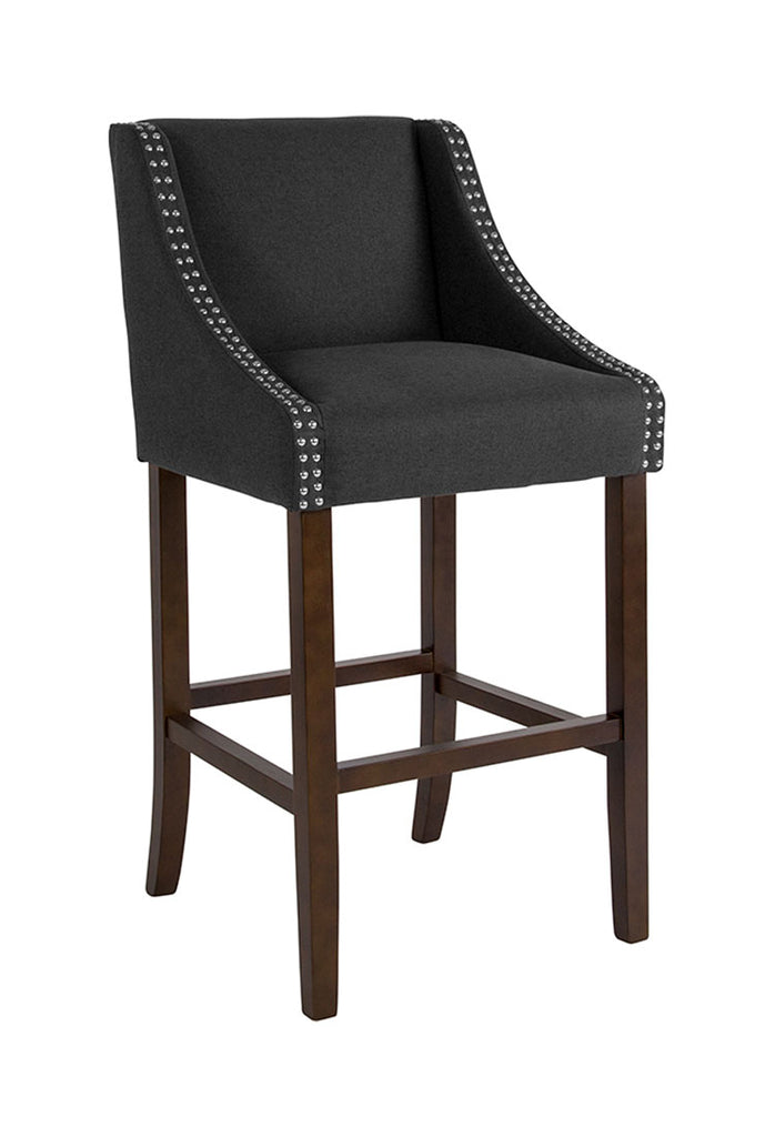 "Flash Furniture Carmel Series 30"" High Transitional Walnut Barstool with Accent Nail Trim in Black Fabric"