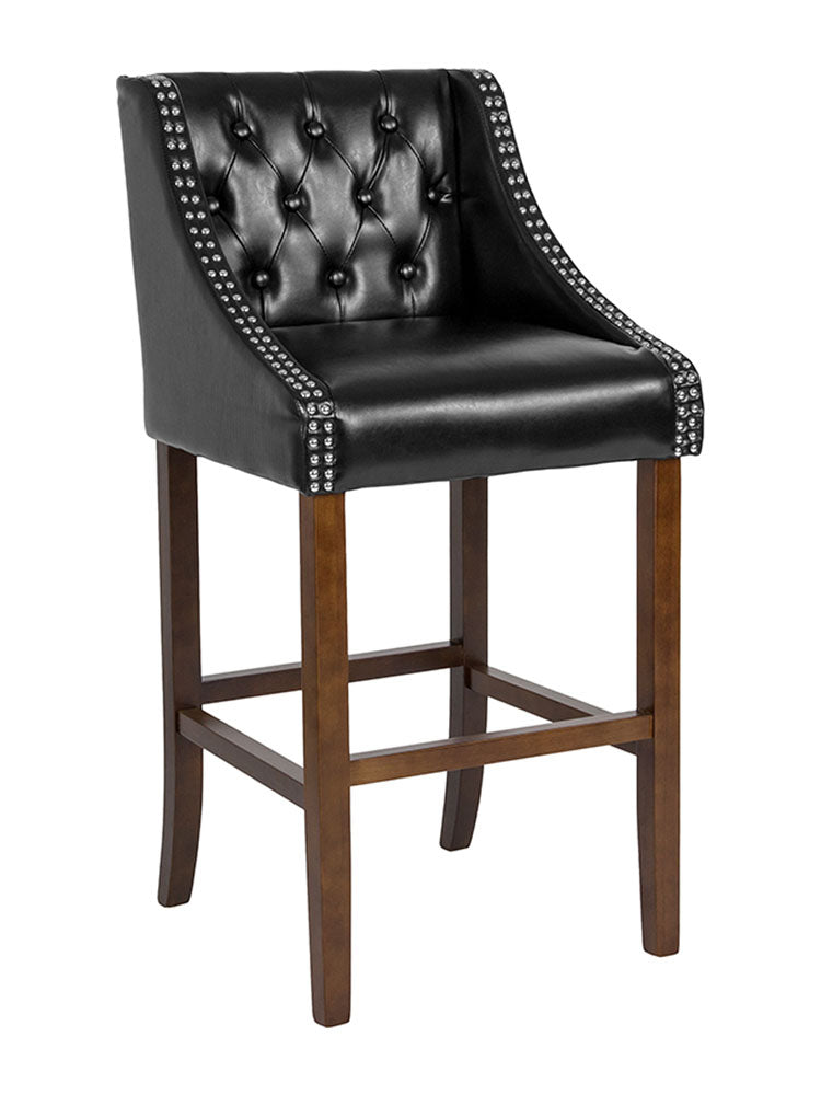 "Flash Furniture Carmel Series 30"" High Transitional Tufted Walnut Barstool with Accent Nail Trim - Black"