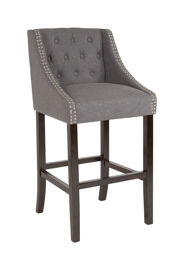 "Flash Furniture Carmel Series 30"" High Transitional Tufted Walnut Barstool with Accent Nail Trim in Dark Gray Fabric"