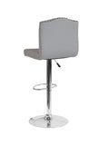 Flash Furniture Bellagio Contemporary Adjustable Height Barstool with Accent Nail Trim in Light Gray Fabric