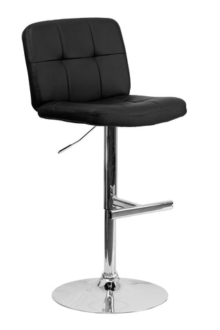CONTEMPORARY TUFTED BLACK VINYL ADJUSTABLE HEIGHT BAR STOOL WITH CHROME BASE