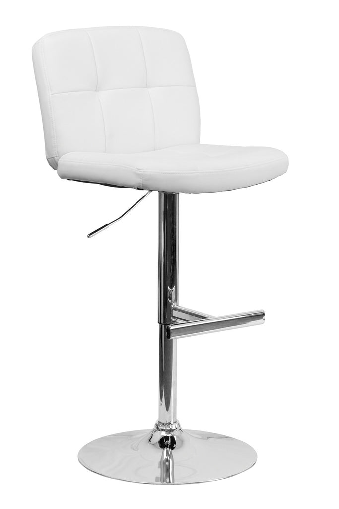 CONTEMPORARY TUFTED WHITE VINYL ADJUSTABLE HEIGHT BAR STOOL WITH CHROME BASE
